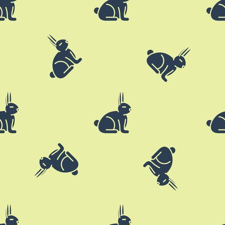 Blue Rabbit icon isolated seamless pattern on yellow background. Vector Illustration