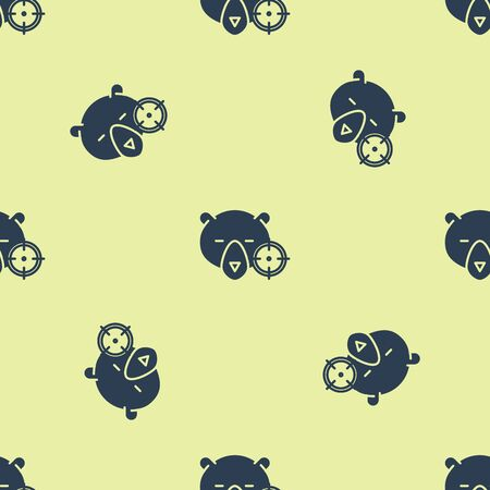 Blue Hunt on bear with crosshairs icon isolated seamless pattern on yellow background. Hunting club logo with bear and target. Rifle lens aiming a bear. Vector Illustration