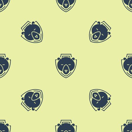 Blue Bear head on shield icon isolated seamless pattern on yellow background. Hunting trophy on wall. Vector Illustration