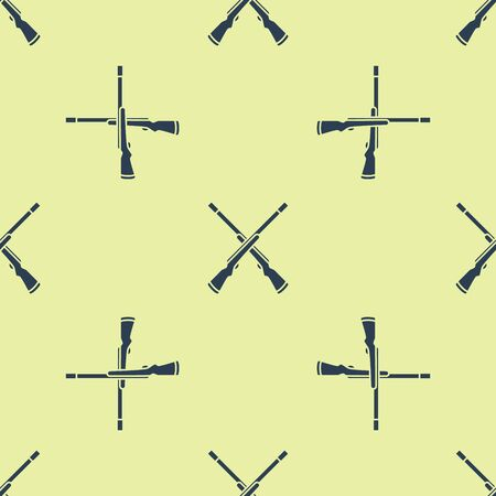 Blue Two crossed shotguns icon isolated seamless pattern on yellow background. Hunting gun. Vector Illustration