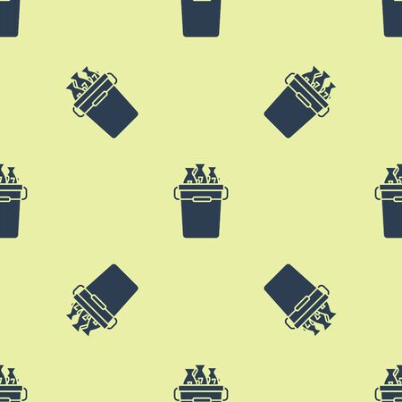 Blue Fishing bucket with fishes icon isolated seamless pattern on yellow background. Fish in a bucket. Vector Illustration  イラスト・ベクター素材