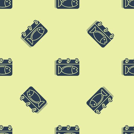 Blue Calendar with a fish icon isolated seamless pattern on yellow background. Day of fish. Vector Illustration