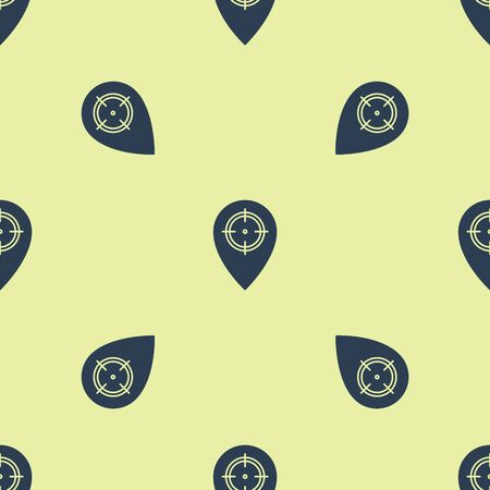 Blue Hunt place icon isolated seamless pattern on yellow background. Navigation, pointer, location, map, gps, direction, place, compass, contact, search. Vector Illustration