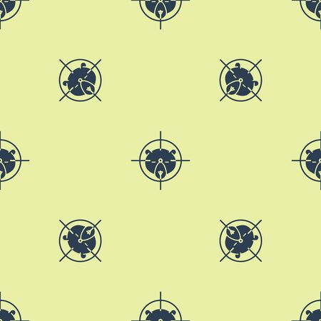 Blue Hunt on bear with crosshairs icon isolated seamless pattern on yellow background. Hunting club  with bear and target. Rifle lens aiming a bear. Vector Illustration