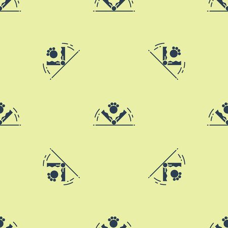 Blue Trap hunting icon isolated seamless pattern on yellow background. Vector Illustration