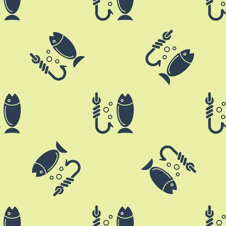 Blue Fishing icon isolated seamless pattern on yellow background. Fish and hook. Strategy concept. Bait sign. Vector Illustration 일러스트