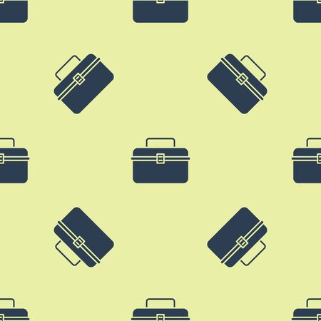 Blue Case or box container for wobbler and gear fishing equipment icon isolated seamless pattern on yellow background. Fishing tackle. Vector Illustration Ilustração