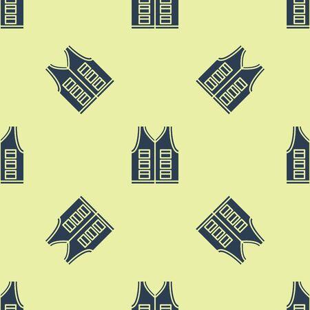 Blue Fishing jacket icon isolated seamless pattern on yellow background. Fishing vest. Vector Illustration 일러스트