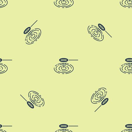 Blue Fishing net in water icon isolated seamless pattern on yellow background. Fishing tackle. Vector Illustration
