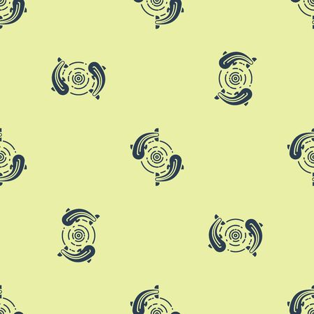 Blue Fish icon isolated seamless pattern on yellow background. Vector Illustration