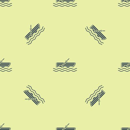 Blue Fishing boat with oars on water icon isolated seamless pattern on yellow background. Vector Illustration