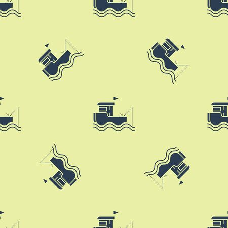 Blue Fishing boat with fishing rod on water icon isolated seamless pattern on yellow background. Vector Illustration Ilustração