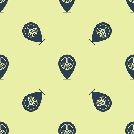 Blue Location fishing icon isolated seamless pattern on yellow background. Fishing place. Vector Illustration Çizim