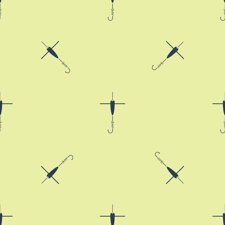 Blue Fishing hook and float icon isolated seamless pattern on yellow background. Fishing tackle. Vector Illustration Çizim
