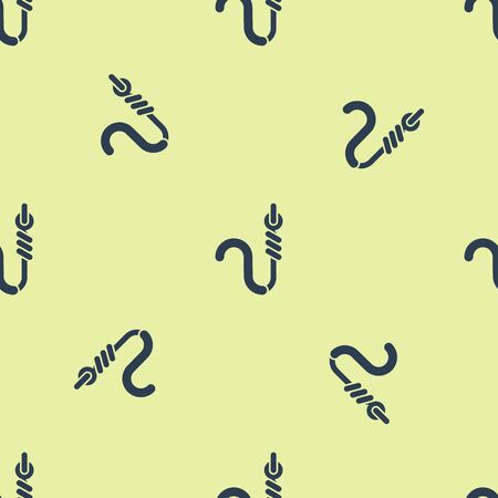 Blue Fishing hook and worm icon isolated seamless pattern on yellow background. Fishing tackle. Vector Illustration