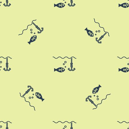 Blue Fishing hook under water with fish icon isolated seamless pattern on yellow background. Fishing tackle. Vector Illustration