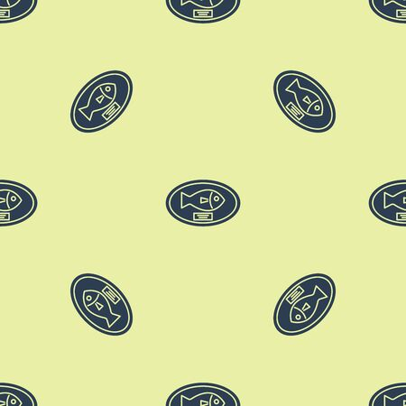 Blue Fish trophy hanging on the board icon isolated seamless pattern on yellow background. Fishing trophy on wall. Vector Illustration Çizim