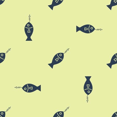 Blue Fish on hook icon isolated seamless pattern on yellow background. Vector Illustration Çizim