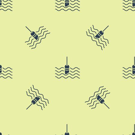 Blue Fishing float in water icon isolated seamless pattern on yellow background. Fishing tackle. Vector Illustration