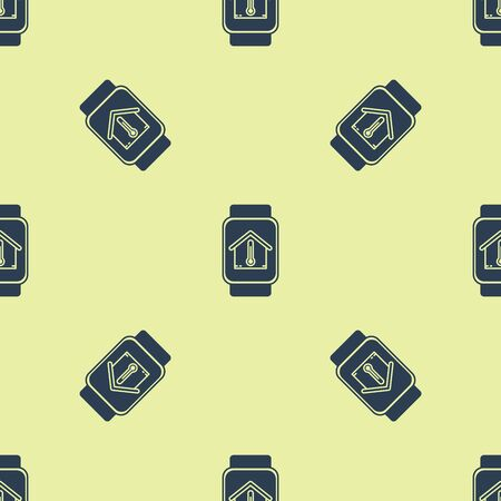 Blue Smart watch with house temperature icon isolated seamless pattern on yellow background. Thermometer icon. Vector Illustration Çizim