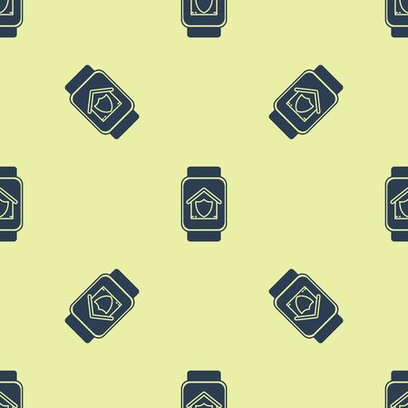 Blue Smart watch with house under protection icon isolated seamless pattern on yellow background. Protection, safety, security, protect, defense concept. Vector Illustration Çizim
