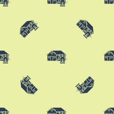 Blue Smart house and alarm icon isolated seamless pattern on yellow background. Security system of smart home. Vector Illustration Çizim