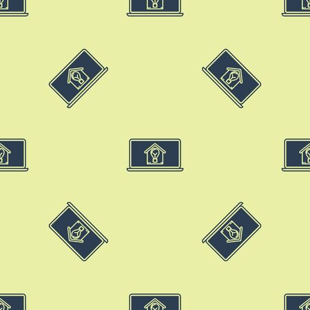 Blue Laptop with smart house and light bulb icon isolated seamless pattern on yellow background. Vector Illustration