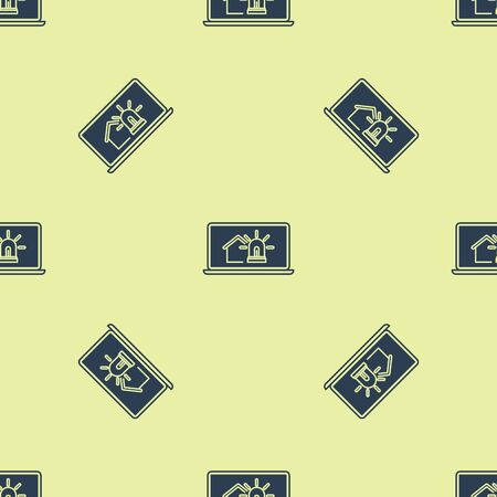 Blue Laptop with smart house and alarm icon isolated seamless pattern on yellow background. Security system of smart home. Vector Illustration