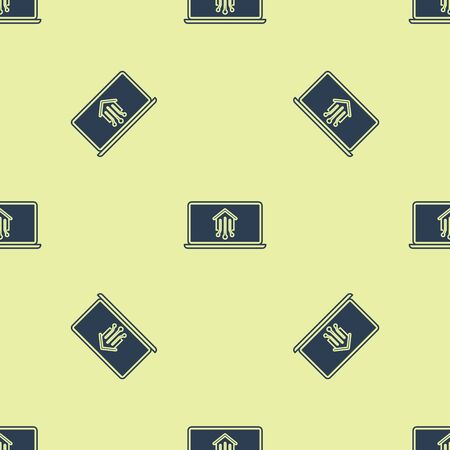 Blue Laptop with smart home icon isolated seamless pattern on yellow background. Remote control. Vector Illustration