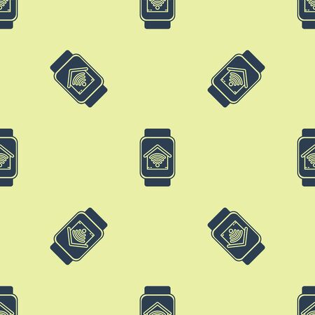 Blue Smart watch with smart home with wi-fi icon isolated seamless pattern on yellow background. Remote control. Vector Illustration