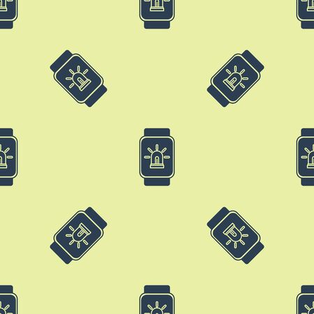Blue Smart watch with smart house and alarm icon isolated seamless pattern on yellow background. Security system of smart home. Vector Illustration