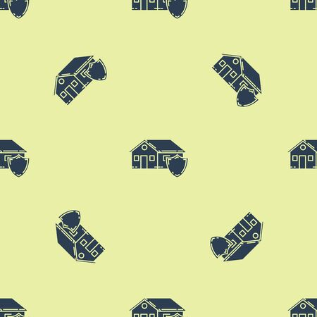 Blue House under protection icon isolated seamless pattern on yellow background. Protection, safety, security, protect, defense concept. Vector Illustration