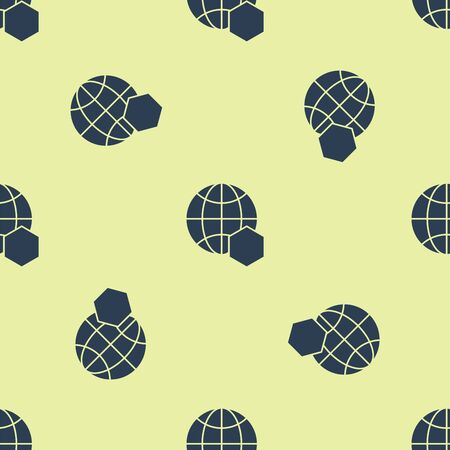 Blue Honeycomb map of the world icon isolated seamless pattern on yellow background. World bee day. Concept ecological event. Vector Illustration