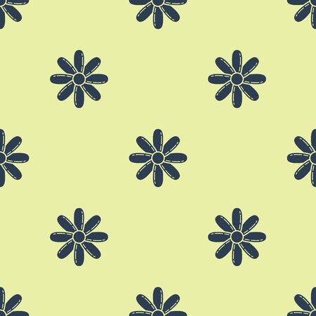 Blue Flower icon isolated seamless pattern on yellow background. Sweet natural food. Vector Illustration 矢量图像
