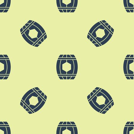 Blue Wooden barrel with honey icon isolated seamless pattern on yellow background. Vector Illustration Stock Illustratie