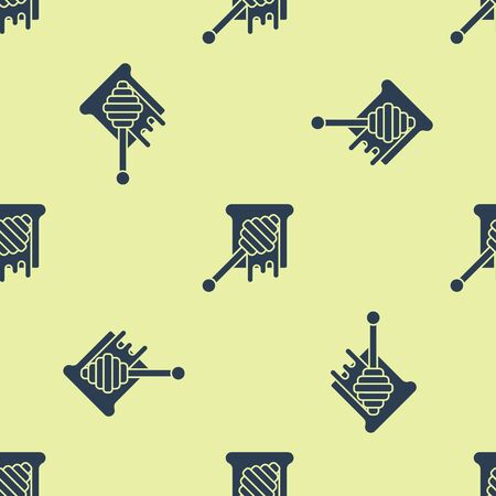 Blue Honey dipper stick with dripping honey icon isolated seamless pattern on yellow background. Honey ladle. Vector Illustration