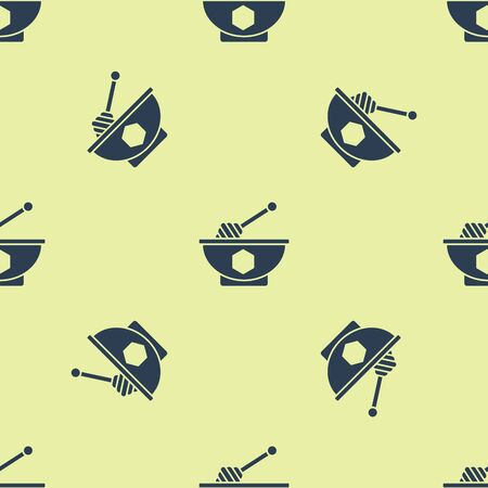 Blue Honey dipper stick and bowl icon isolated seamless pattern on yellow background. Honey ladle. Vector Illustration