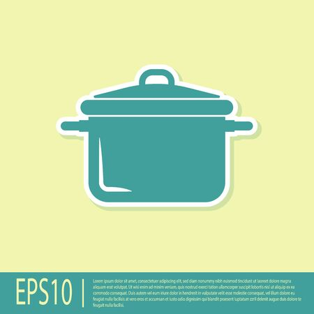 Green Cooking pot icon isolated on yellow background. Boil or stew food symbol. Vector Illustration