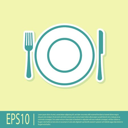 Green Plate, fork and knife icon isolated on yellow background. Cutlery symbol. Restaurant sign. Vector Illustration Иллюстрация