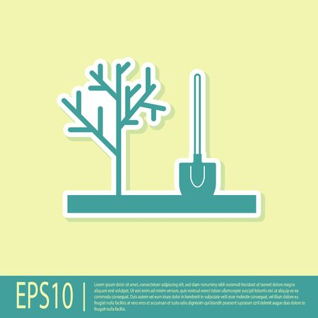 Green Planting a tree in the ground icon isolated on yellow background. Gardening, agriculture, caring for environment. Vector Illustration