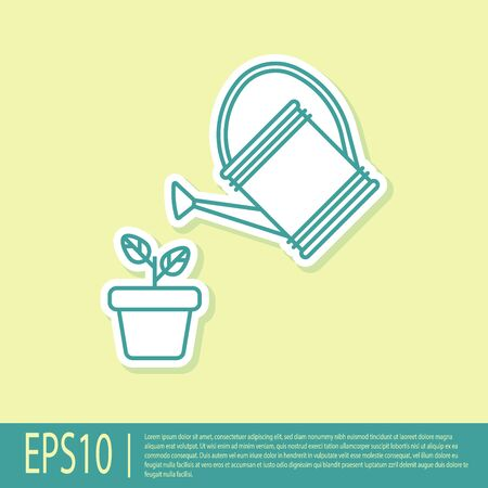 Green Watering can sprays water drops above plant in pot icon isolated on yellow background. Irrigation symbol. Vector Illustration