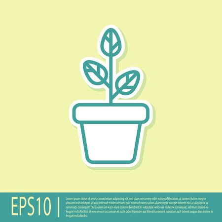 Green Flowers in pot icon isolated on yellow background. Plant growing in a pot. Potted plant sign. Vector Illustration