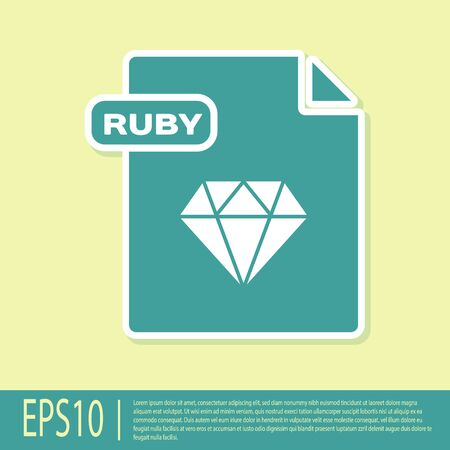 Green RUBY file document. Download ruby button icon isolated on yellow background. RUBY file symbol. Vector Illustration