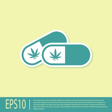 Green Medical pills with marijuana or cannabis leaf icon isolated on yellow background. Mock up of cannabis oil extracts in jars. Vector Illustration  イラスト・ベクター素材