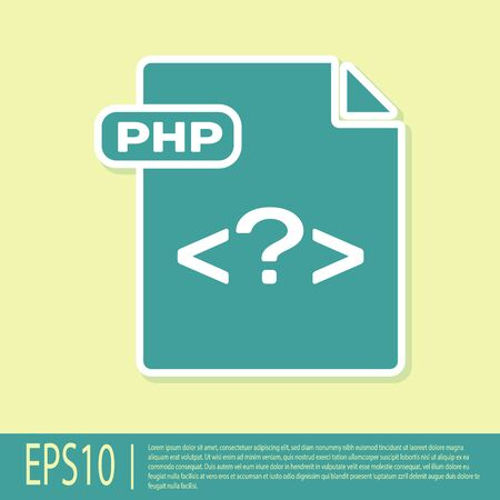 Green PHP file document. Download php button icon isolated on yellow background. PHP file symbol. Vector Illustration Reklamní fotografie - 129309681
