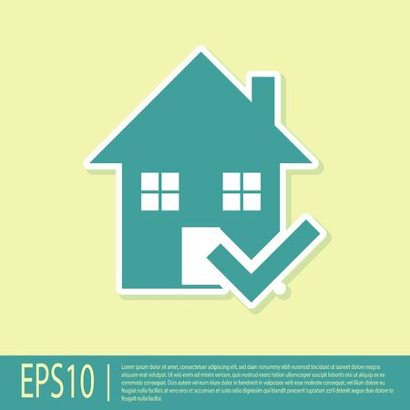 Green House with check mark icon isolated on yellow background. Real estate agency or cottage town elite class. Vector Illustration