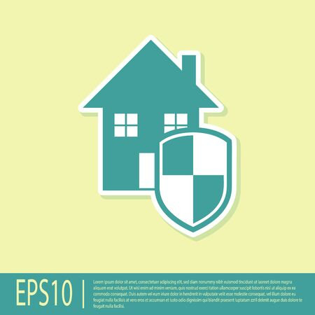 Green House under protection icon isolated on yellow background. Home and shield. Protection, safety, security, protect, defense concept. Vector Illustration