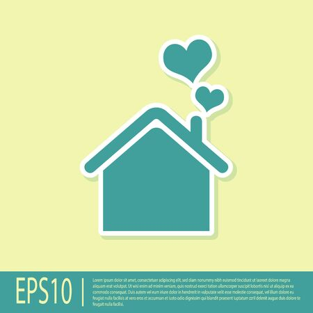 Green House with heart shape icon isolated on yellow background. Love home symbol. Family, real estate and realty. Vector Illustration