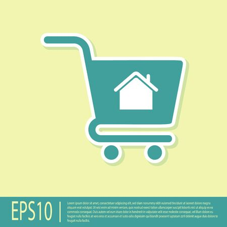 Green Shopping cart with house icon isolated on yellow background. Buy house concept. Home loan concept, rent, buying a property. Vector Illustration