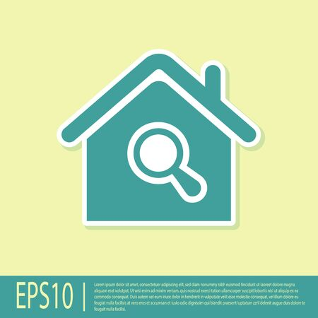Green Search house icon isolated on yellow background. Real estate symbol of a house under magnifying glass. Vector Illustration